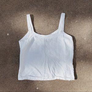 VTG Summer Linen Blend Crop Top - White